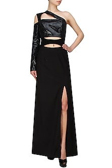 Black one shoulder gown with goat suede belt by AAWA By Aastha Wadhwa