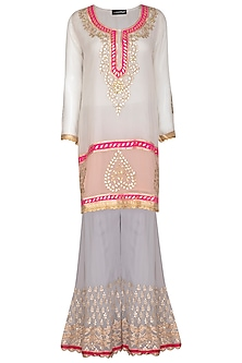 White Embroidered Sharara Set by Abhi Singh