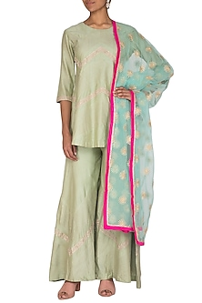 Sea Green Embroidered Sharara Set by Abhi Singh