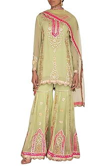 Sea Green Embroidered Gharara Set by Abhi Singh