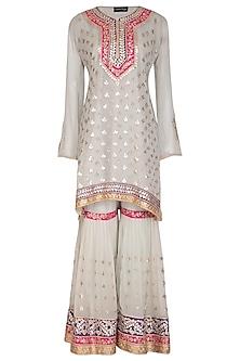 Powder Blue Embroidered Pleated Gharara Set by Abhi Singh
