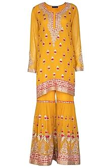 Haldi Yellow Embroidered Gharara Set by Abhi Singh