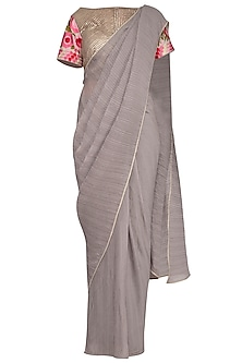 Ash Grey Embroidered Saree Set by Aashima Behl
