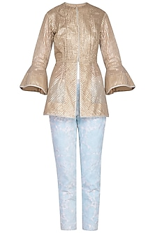 Gold Jacket With Embroidered Pants