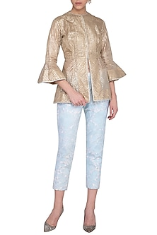 Gold Jacket With Embroidered Pants by Aashima Behl