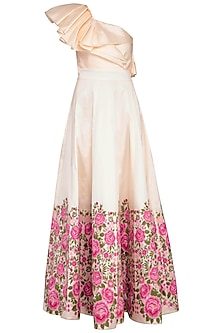 Ivory Embroidered One Shouldered Gown