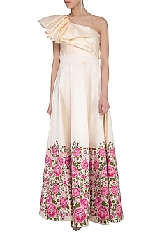 Ivory Embroidered One Shouldered Gown by Aashima Behl