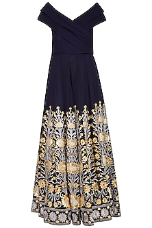 Navy Blue Embroidered Cocktail Gown