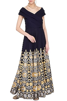 Navy Blue Embroidered Cocktail Gown by Aashima Behl