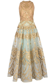 Aqua & Gold Embroidered Blouse With Lehenga Skirt