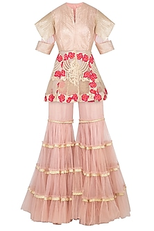 Salmon Pink Embroidered Peplum Jacket With Gharara Pants