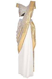 Grey & Ivory Embroidered Saree Set by Aashima Behl