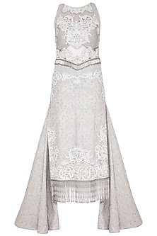 Pearl Grey Embroidered Pencil Gown