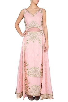 Rose Pink Embroidered Gown by Aashima Behl