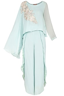 Mint Embroidered Flowy Top With Drape Pants