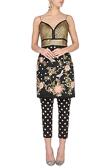 Black Embroidered Kurta With Pants by Aashima Behl
