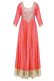 Pink and Off White Sequins Embroidered Anarkali Set
