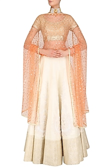 Orange and Gold Floral Embroidered Dupatta