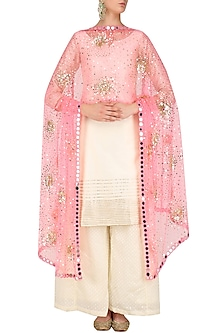 Bright Pink Sequins and Mirror Work Dupatta