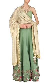Ivory and Yellow Mirror Work Dupatta