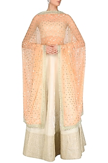 Peach and Gold Sequins Flower Dupatta