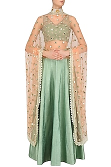 Peach Mirror Work Dupatta