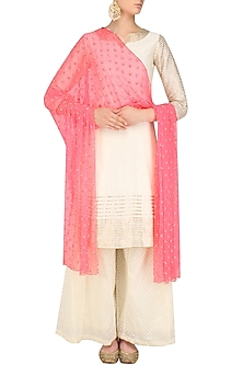 Pink Beads Flower Dupatta