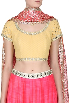Yellow Mirror Embroidered Blouse