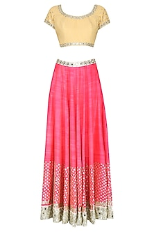 Hot Pink Sitara Work Lehenga and Yellow Blouse Set