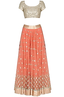Orange and Gold Mirror Embroidered Lehenga Set