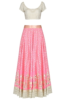 Pink Mirror Work Lehenga Skirt and Light Gold Blouse Set