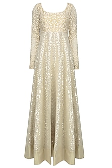 Off White Thread Embroidered Sequinned Anarkali Set
