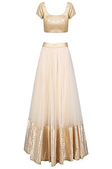Off White and Gold Gota Patti Work Lehenga Set