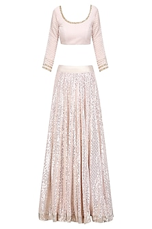 Off White and Gold Sequins Embroidered Lehenga Set