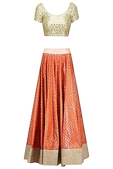 Orange and Gold Gota Patti Work Lehenga Set