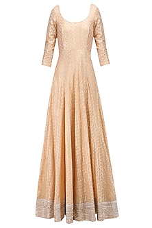 Peach and Gold Gota Patti Embroidered Anarkali Set