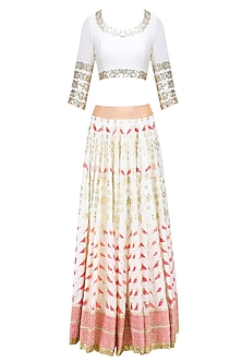 Off White, Pink and Orange Printed Lehenga Set