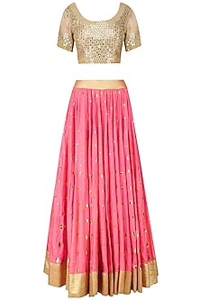 Beige and Pink Mirror and Foil Work Lehenga Set