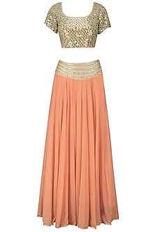 Beige and Orange Embroidered Lehenga Set