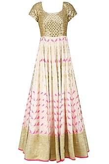 Ivory and Pink Bird Block Print Embroidered Anarkali Set