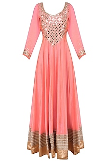 Coral Pink and Mint Mirror Work Anarkali Set