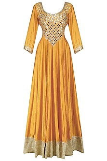 Mustard and Mint Mirror Embroidered Anarkali Set