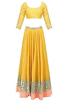 Yellow Mirror Embroidered Lehenga Set