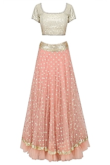 Pink Sequins Embroidered Lehenga with off White Blouse