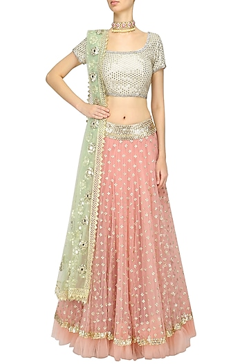 Pink Sequins Embroidered Lehenga with off White Blouse by Abhinav Mishra