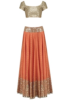 Orange Mirror Embroidered Lehenga Set