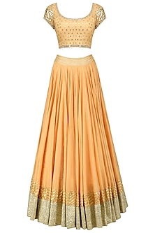 Orange Mirror and Sequins Embroidered Lehenga Set