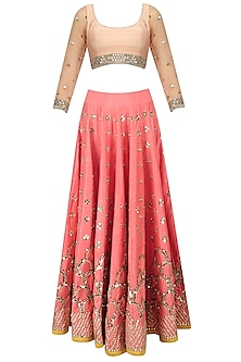Pink Mirror Embroidered Lehenga and Peach Blouse Set