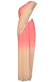 Pink and beige ombre sequins and mirror work hand embroidered saree