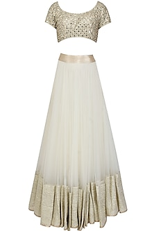 Off white gota patti lace lehenga and gold mirror work blouse set